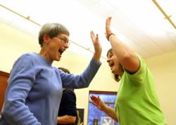 "Joan Dietrich, 67, of Norton Shores (MI) signed up for Laughter Yoga, hoping to lower her high blood pressure. After just one night of class, her blood pressure dropped into the normal range. ""The next day, I had a happy, wholesome feeling,"" she says."